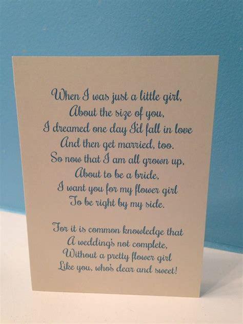 Flower Girl Poem Wedding Card   Will You Be My Flower Girl