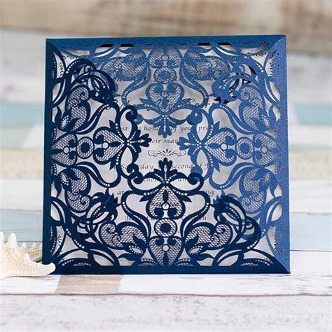graceful navy blue laser cut wedding invitation EWWS030 as