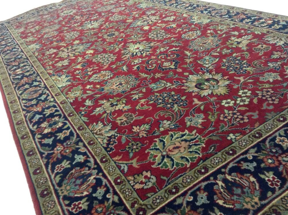 4 x 8 Red Navy Blue Tabriz Persian Oriental Area Rug ...