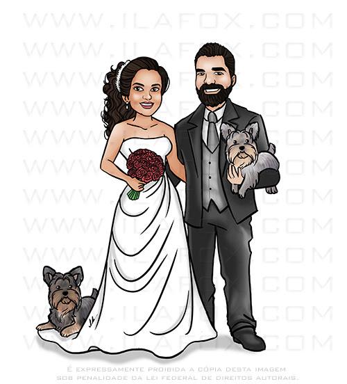 caricatura desenho, caricatura casal, caricatura com animais de estimação, cariactura com cachorros, caricatura bonita, caricatura divertida, ila fox