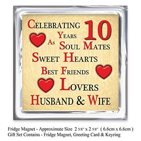 Our 10th Wedding Anniversary Gift Set   Card, Keyring