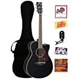 Yamaha FSX720SC Small Body Cutaway Acoustic-Electric Guitar Bundle with Gig Bag, Tuner, Instructional DVD, Strings...