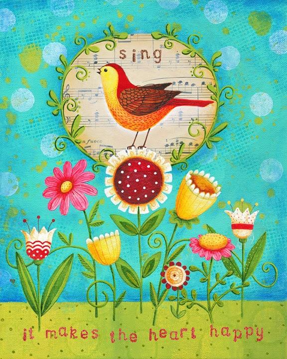 Happy Heart 8x10 Inspirational Mixed-Media Art Print