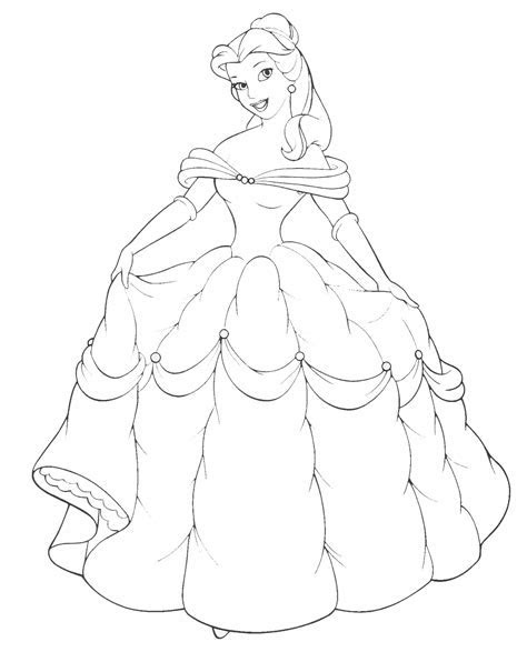 Disney Princess Belle and Her Gown Coloring Sheet   kentscraft