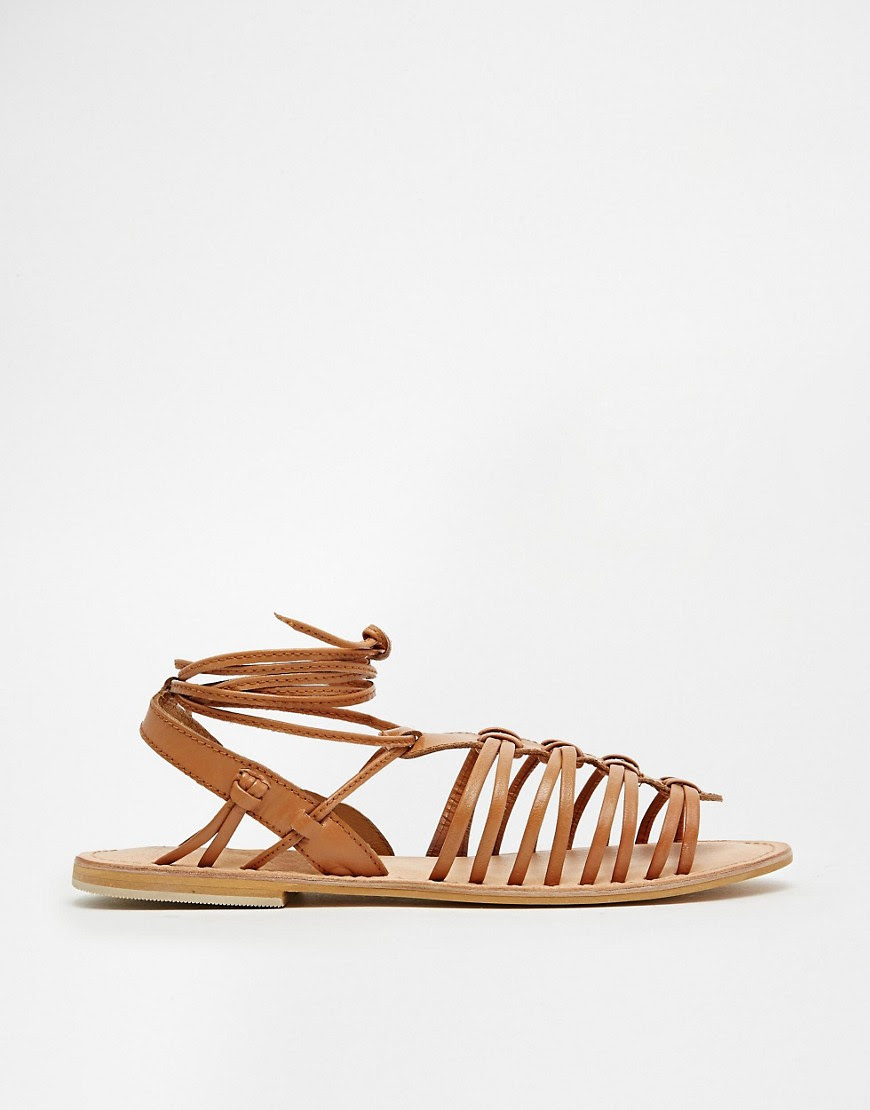 Image 2 of ASOS FUNNEL WEB Leather Gladiator Tie Leg Sandals