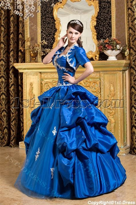 Royal Blue Pretty Quinceanera Dress with Short Jacket:1st