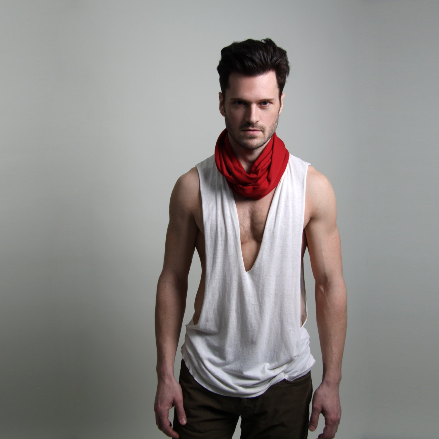 Burning Man Circle Scarf - Deep Red - Mens Women - Infinity Scarf Loop Scarf - Cotton Spring Unique - Necklush