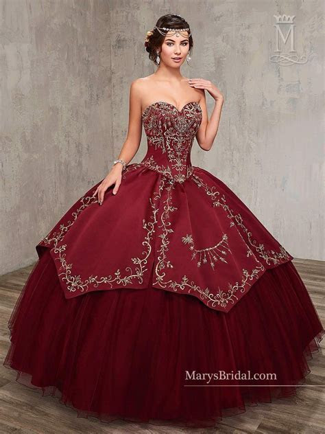Embroidered Satin Quinceanera Dress by Mary's Bridal