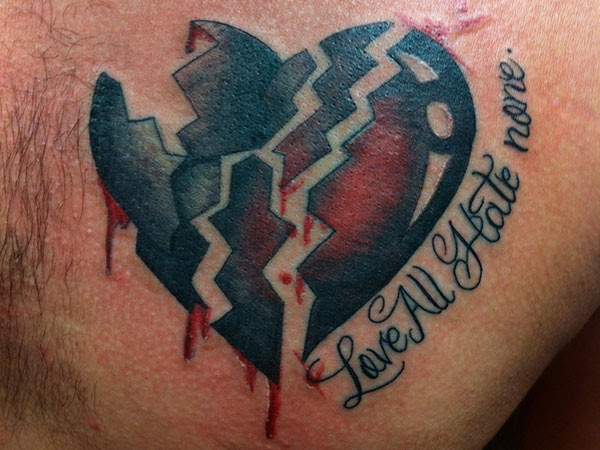 Broken Heart And Love All Hate None Faith Tattoo