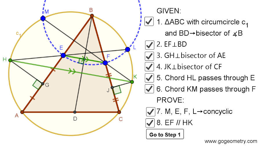 Dynamic Geometry 1479: Triangle, Circumcircle, Angle Bisector, Perpendicular Bisector, Chord, Concyclic Points, Parallel Lines, Step-by-step Illustration, GeoGebra, iPad.