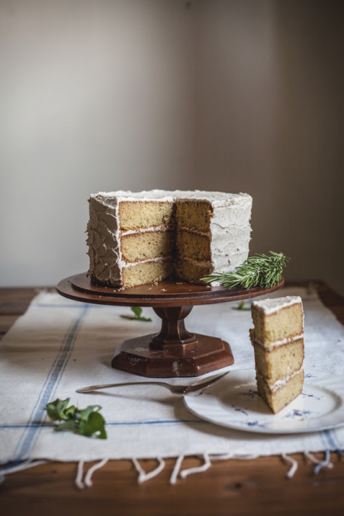 grayskymorning:  Rosemary Corn Cake with a Honey + Brown Butter Buttercream