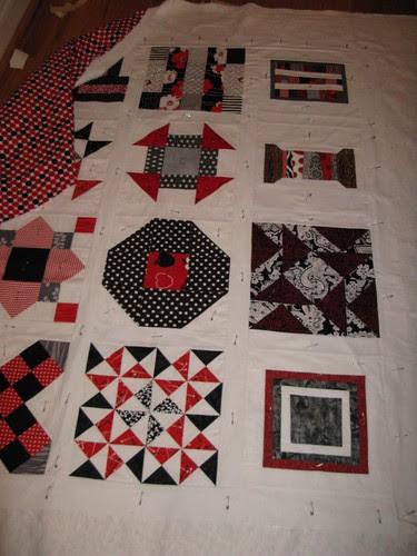 Red, Grey, Black Bee Block Quilt