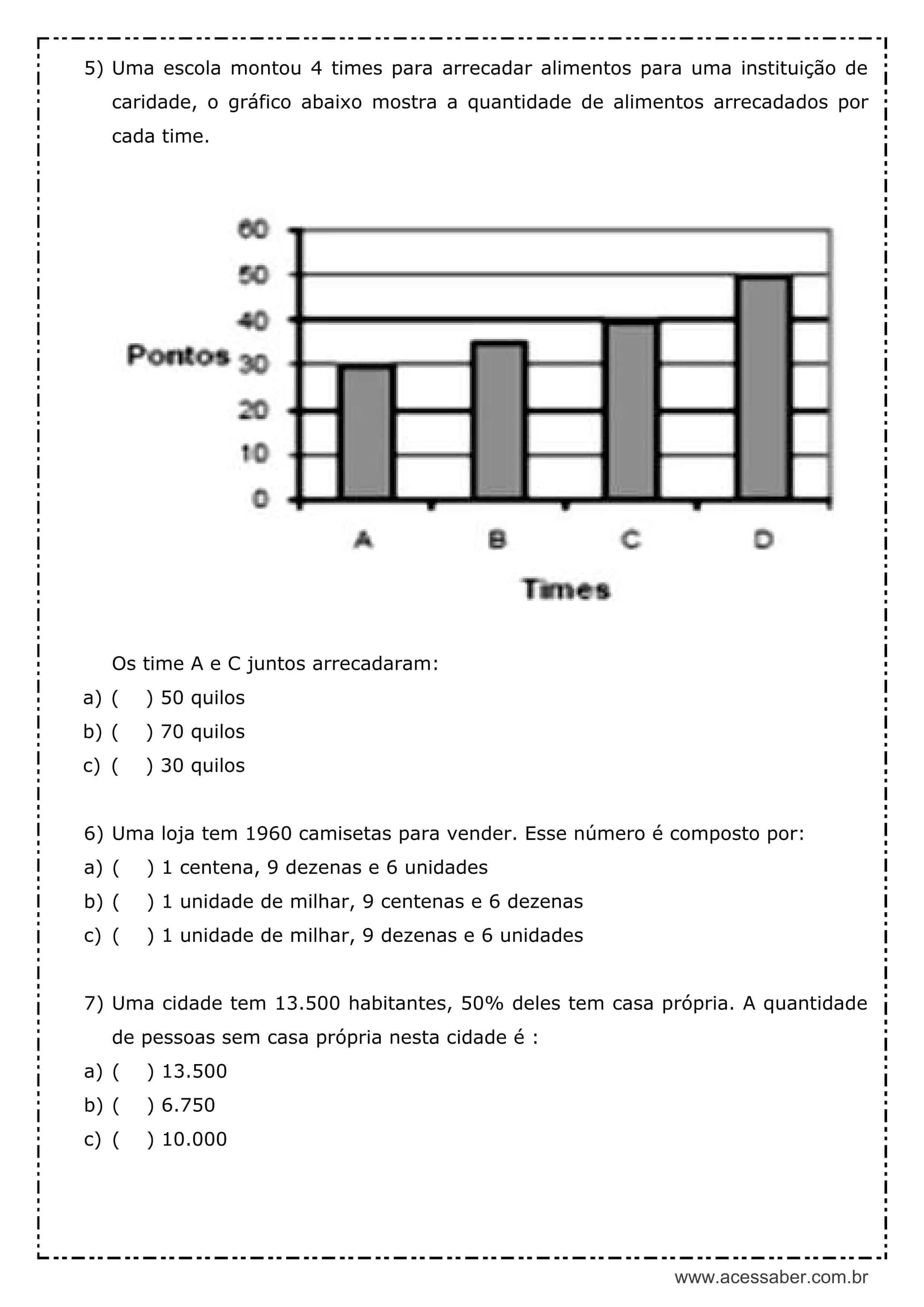 Avaliacao De Matematica 5º Ano Acessaber