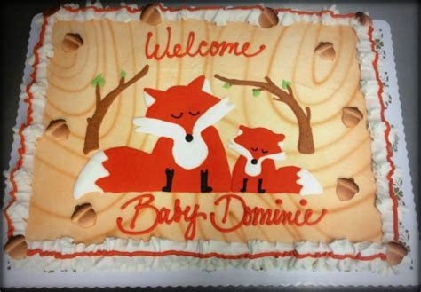 Fox and Woodland Baby Shower Cake ? Trefzger's Bakery