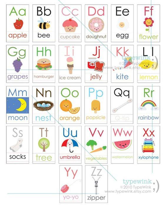 Cute Kawaii ABC alphabet Flash Cards - Printable PDF | Kids ...