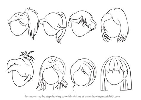 learn   draw anime hair female hair step  step