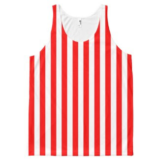 Unisex Tank Top with Red and White Stripes All-Over Print Tank Top