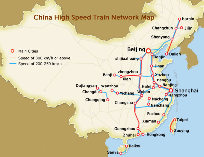 Linhas de trem de alta velocidade, construída quase dez mil quilômetros em cinco anos