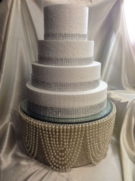 Pearl & diamante crystal finish Tall cake stand for