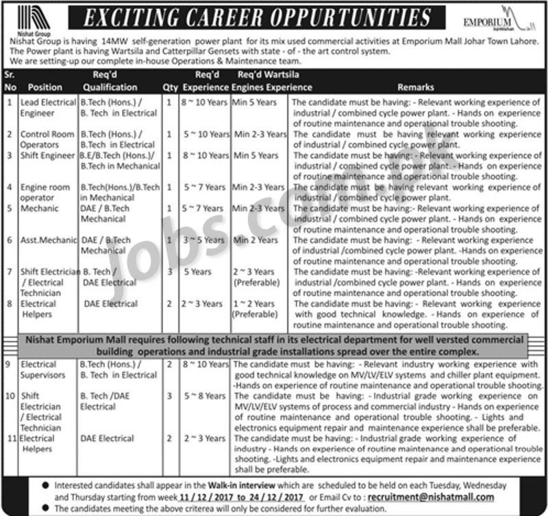 Nishat Group Jobs  Engineering And Dae Posts