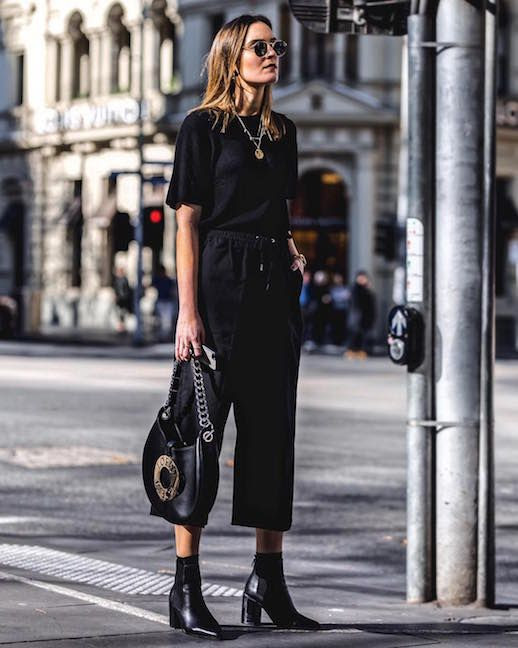 Le Fashion Blog All Black Summer Outfit Black T Shirt Drawstring Black Pants Black Boots Via @_hollyt