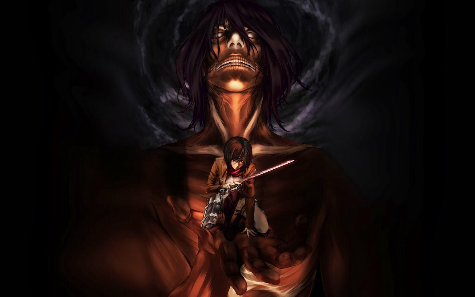 Titan Eren And Mikasa Shingeki No Kyojin Attack On Titan