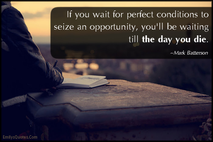 If You Wait For Perfect Conditions To Seize An Opportunity Youll