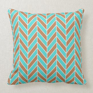 Turquoise And Brown Herringbone Throw Pillow