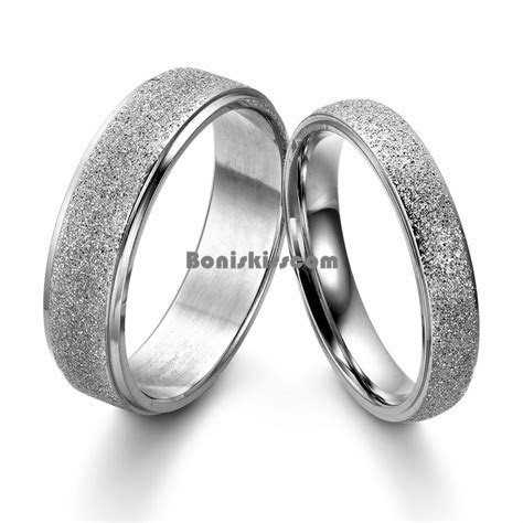 Frosted Center Stainless Steel Dome Engagement Ring Men's