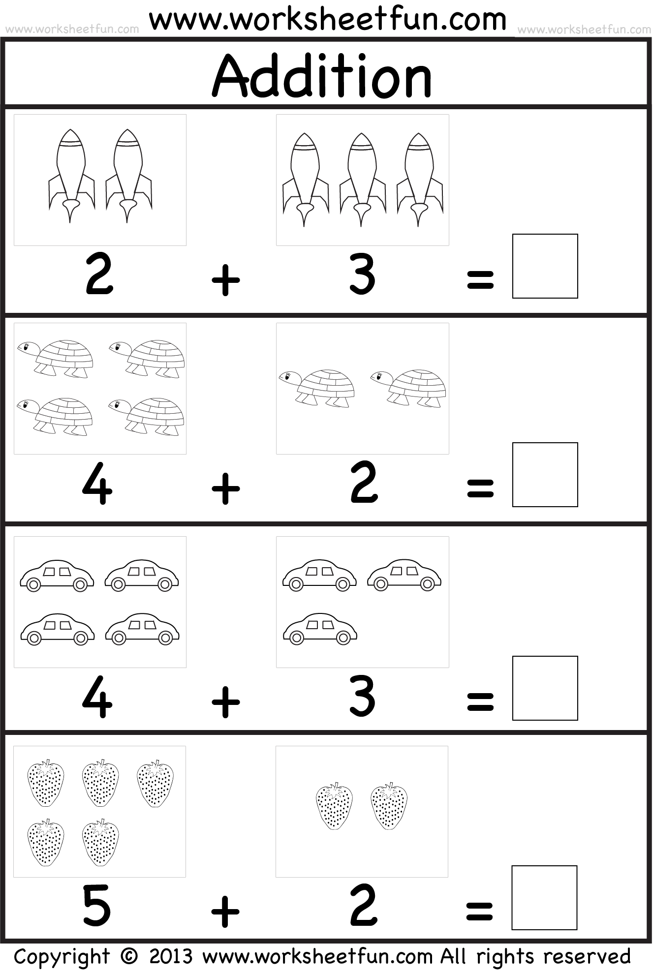 Picture Addition – Beginner Addition – Kindergarten Addition – 5 Worksheets \/ FREE Printable