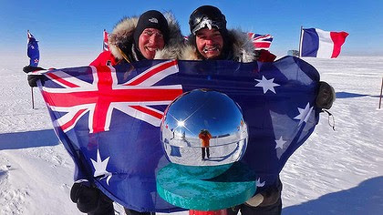 Justin Jones (left) and James Castrission pose at the South Pole.