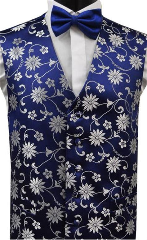 Blue/ Navy & Silver Grey Floral Pattern Dress Waistcoat