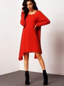 Rust Long Sleeve High Low Plus Dress