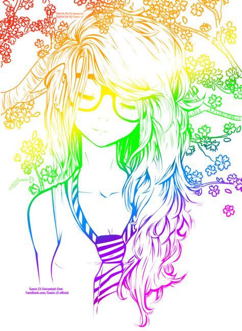 rainbow cute girl  art colored  neonarianna