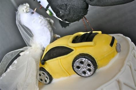 Lamborghini and Bird Topper Wedding Cake   The Hudson Cakery