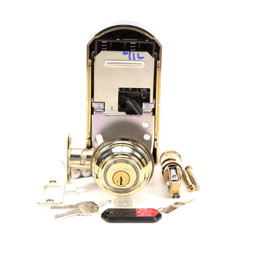 Kwikset Kevo Lifetime Polished Brass Single Cylinder Deadbolt 1 Cylinder Smartkey Electronic Deadbolt No Keypad In The Electronic Door Locks Department At Lowes Com