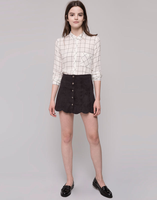 Pull&Bear - mujer - faldas - falda antelina bajo ondulado - negro - 09398315-I2015
