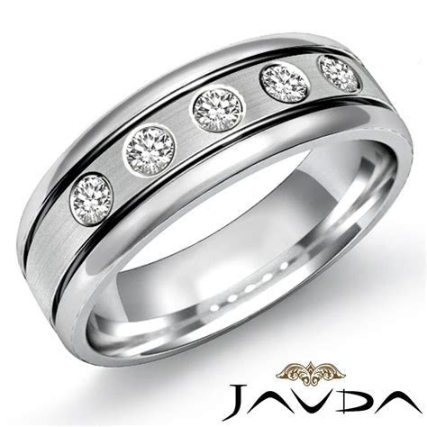 9mm Mens Half Wedding Band 5 Stone Round Diamond Solid