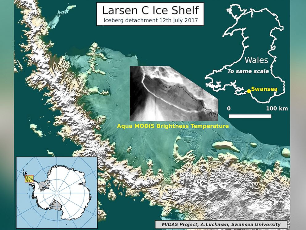 PHOTO: An illustration depicting an iceberg detachment from the Larsen C Ice Shelf in Antarctica, July 12, 2017.