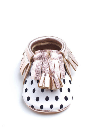 Black & White Polka-Dot Moccs
