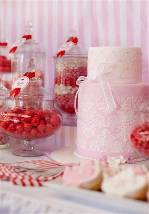 Red, White and Pink Dessert Table Perfect for a Bridal