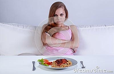 Girl Refusing To Eat Dinner Stock Photo - Image: 46853453