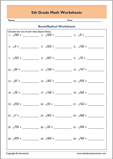 Free 5th Grade Math Worksheets Finding The Roots Of