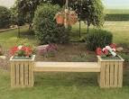 Amish Pine Outdoor Country Bench Planter with Plastic Pot | Amish ...