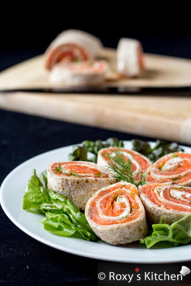 Salmón ahumado queso crema Tortilla Roll-Ups | Roxy Cocina #healthysnack #appetizer