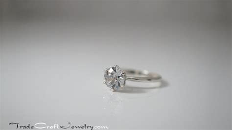 Old European Cut CZ Engagement Ring Sterling Silver 6