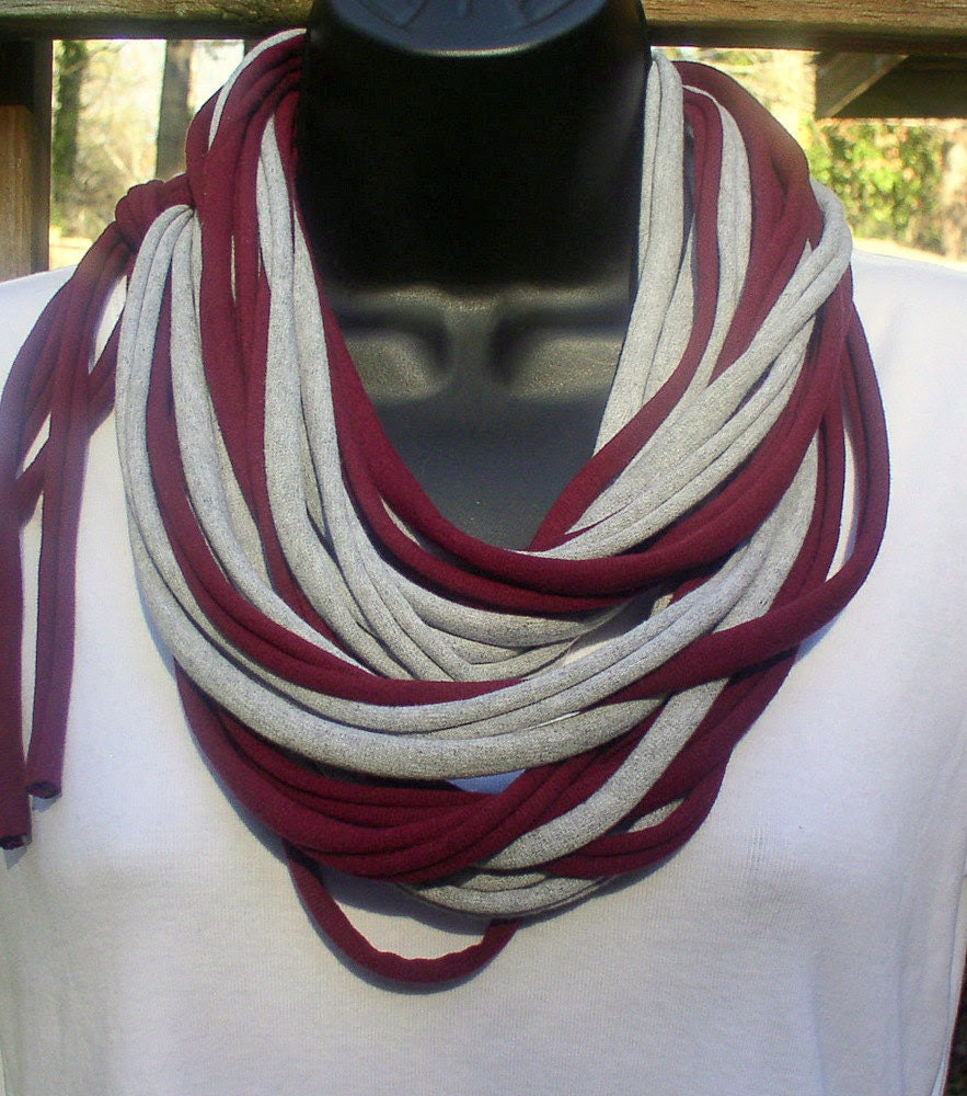 T Shirt Necklace - Scarf - Burgundy/Gray - Cotton