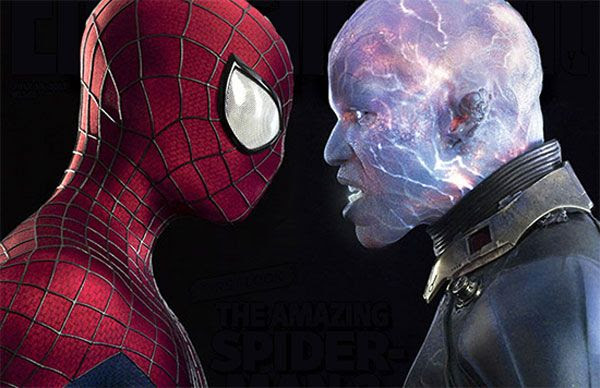 Spidey (Andrew Garfield) and Electro (Jamie Foxx) face off in a promotional image for THE AMAZING SPIDER-MAN 2, courtesy of Entertainment Weekly.