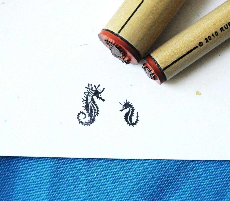 image seahorse rubber stamp wooden norajane