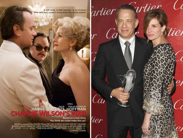 Charlie Wilson's War - 2007; Actor Tom Hanks and actress Julia Roberts pose at the 'American Cinemateque Honors Julia Roberts' at the Beverly Hilton Hotel on October 12, 2007 in Beverly Hills, California.